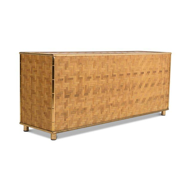 Brown Hollywood Regency Sideboard in Rattan and Bamboo, 1970s For Sale - Image 8 of 9