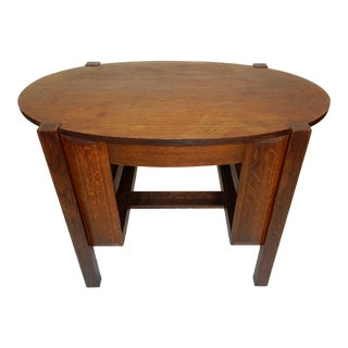 Antique Limbert Style Oval Oak Library Table With Drawer For Sale
