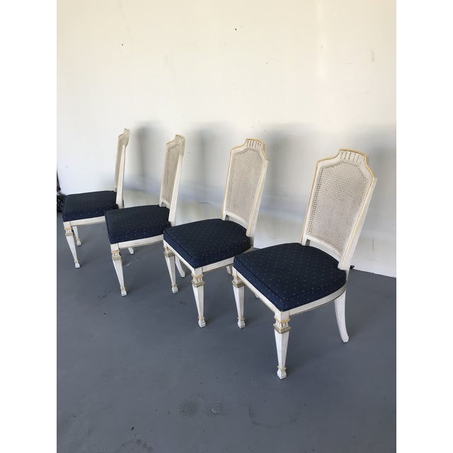 Green 1970s Vintage Drexel Siena Furniture Italian Neoclassical Cane Back Dining Chairs- Set of 4 For Sale - Image 8 of 13