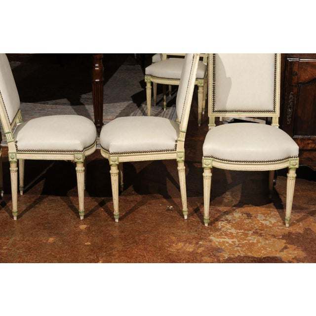 Set of Eight French Louis XVI Style Painted Dining Chairs with New Upholstery For Sale - Image 4 of 13