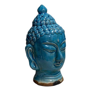 Early 20th Century Blue Glazed Buddha Head For Sale