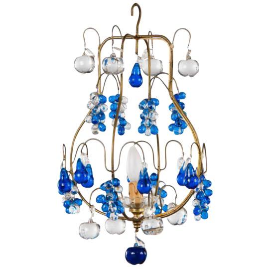 Vintage Blue Murano Chandelier For Sale