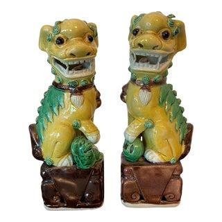 Miniature Porcelain Foo Dogs - a Pair For Sale
