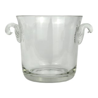 Vintage Hand-Blown Glass Ice Bucket With Ribbed Handles For Sale