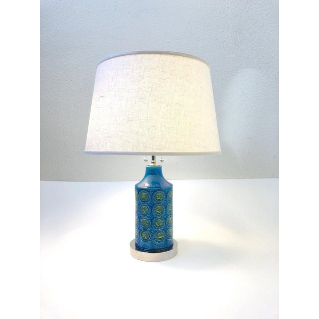 Italian Ceramic and Nickel Table Lamps by Bitossi - a Pair For Sale In Palm Springs - Image 6 of 10