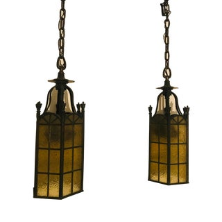 Amber Glass Panes and Iron Pendant Lantern Lights - a Pair For Sale