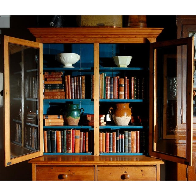 Pine Bookcase Cupboard with Drawers For Sale - Image 4 of 7