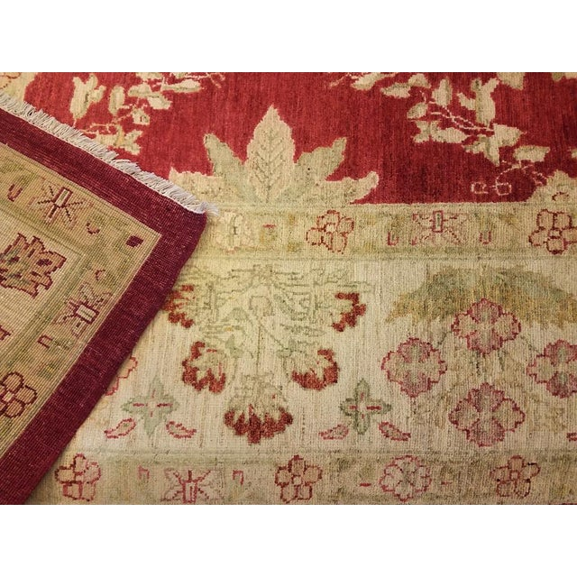 """Peshawar Jacquely Red & Tan Wool Rug - 10'2"""" x 14' For Sale In New York - Image 6 of 7"""