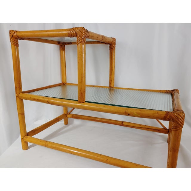 Mid-Century Modern 1960 Small Modern Stepped Rattan Table For Sale - Image 3 of 4