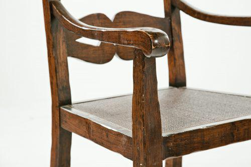 Caning English Ladderback Arm Chairs With Caning   A Pair For Sale   Image  7 Of