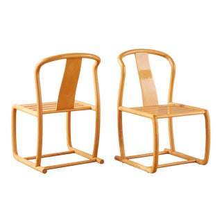 Sculpted Maple Chairs by Tecno Sedia, a Pair For Sale