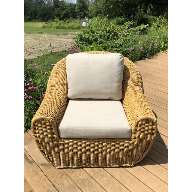Stunning Vintage Mid Century Modern Franco Albini Style Orb Shaped Wicker Arm Chair. Original finish fittings fabric and...