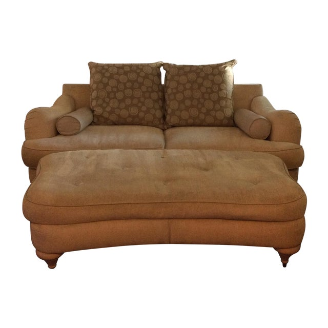 Thayer Coggin Kidney Sofa & Ottoman - Image 1 of 4