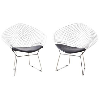 Pair of Chrome Diamond Chairs After Harry Bertoia For Sale