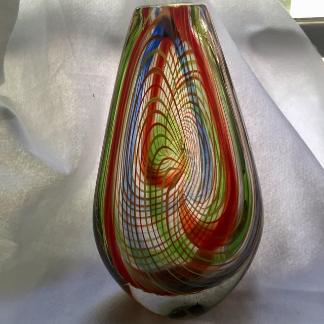 Glass Large Mid-Century Murano Multi-Colored Swirl Teardrop Vase Attributed to Dino Martens For Sale - Image 7 of 9