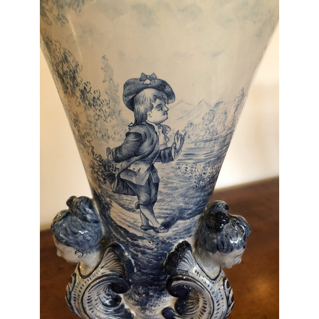 Antique Large Italian Blue and White Ceramic Figural Vase For Sale - Image 9 of 13