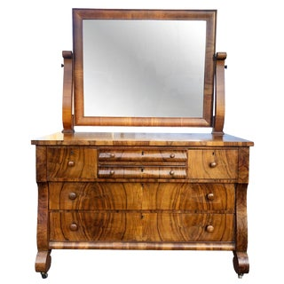 19th Century Antique American Empire Carved Burl Walnut Dresser With Mirror For Sale