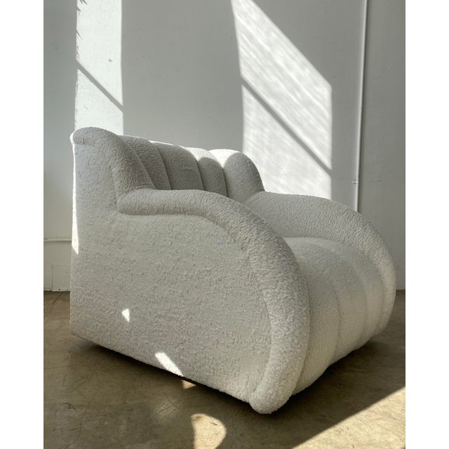 1980s Postmodern Bouclé Clam Chair & Ottoman For Sale - Image 5 of 10