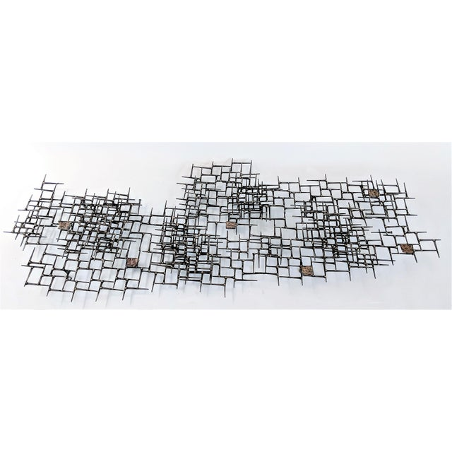 Contemporary Abstract Nail & Bronze Wall Jere Style Sculpture For Sale - Image 3 of 12