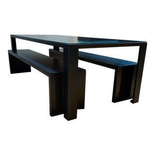 Mimimalist Zeus Big Irony Table and Benches Designed by Maurizio Peregalli - 3 Pieces For Sale