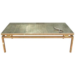 Polished Brass Etched Top Cocktail Table by Rosseau For Sale