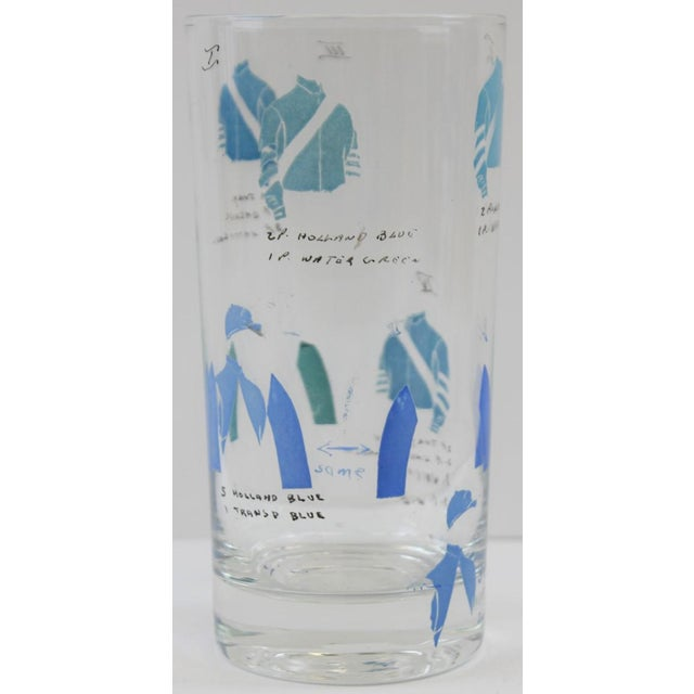Glass Hand-Painted Jockey Highball Glasses - Set of 6 For Sale - Image 7 of 8