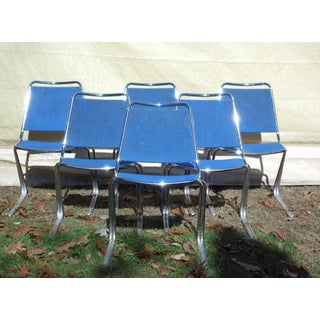 Vintage Set of 6 Mid Century Modern Fixtures Mfg Corp Padded Chrome Stacking Chairs Preview