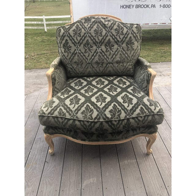 Louis XV Style Pickled Finish Bergere & Ottoman For Sale - Image 10 of 12