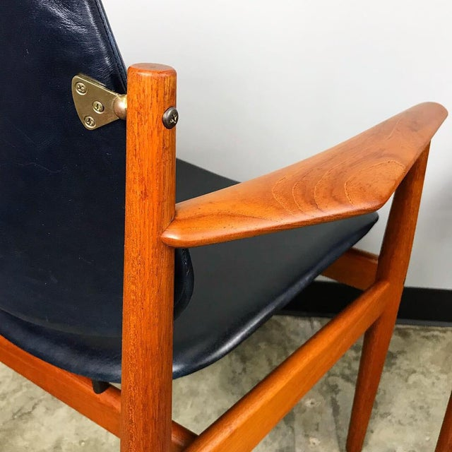 Rare Set of 6 Dining Chairs by Arne Vodder With New Upholstery For Sale - Image 9 of 13