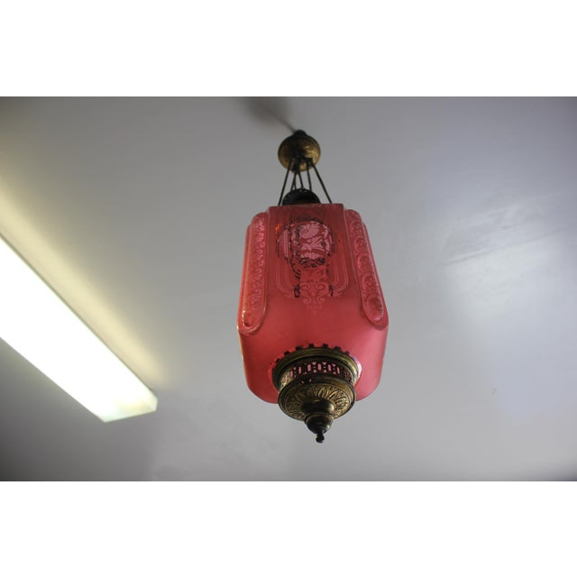 Pink Beautiful French Art Nouveau / Art Deco Pink Oil Lantern Or Pendant Signed By ''BACCARAT''Circa 1900th Centuy. For Sale - Image 8 of 13