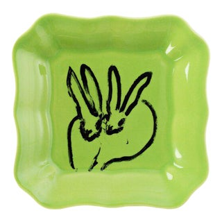 Green Bunny Portrait Plate, Hunt Slonemdecorative platedecorative plate For Sale