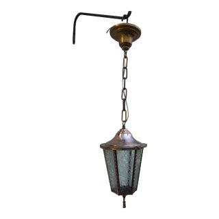 Vintage Stencil Etched Cooper Hanging Lantern For Sale