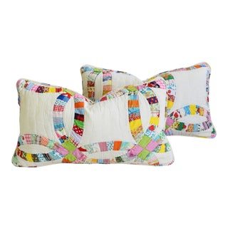 """Shabby Chic Farmhouse American Patchwork Feather/Down Pillows 24"""" X 14"""" - Pair For Sale"""