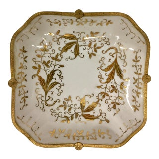 Antique White Porcelain & Gold Leaf Detail Plate