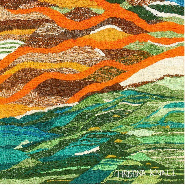 Textile Scandinavian Landscape Tapestry Rug by Christina Knall - 3′ 10″ × 5′ For Sale - Image 7 of 8