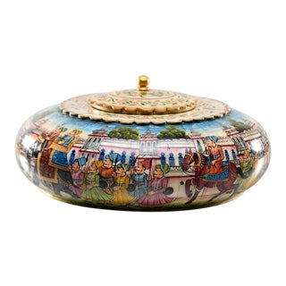 Large Lidded Kashmiri Box With Hand Painted Bone Mosaic For Sale