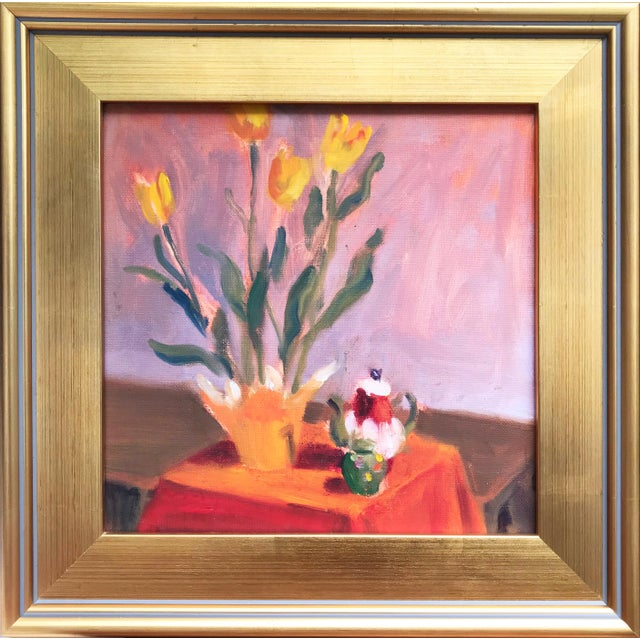 Early 21st Century Contemporary Still Life of Tulips & Tea Pot Oil/Canvas For Sale - Image 5 of 5