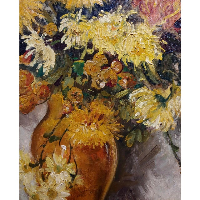 "1920s Thorwald Albert Probst ""Flowers of Fall"" Still Life Oil Panting C.1910s For Sale - Image 5 of 11"