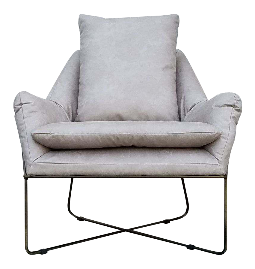 Gray Faux Leather Lounge Chair