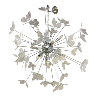 Italian Mid-Century Kromo Murano Glass Butterfly Sputnik Chandelier For Sale