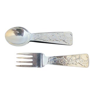 Tiffany & Co Sterling Silver Abc Bears Baby Spoon & Fork - 2 Piece Set For Sale