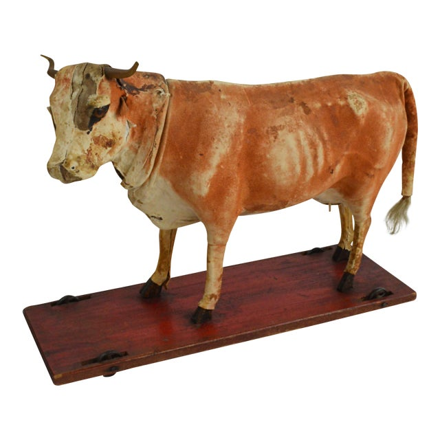 Vintage Leather Cow Pull Toy - Image 1 of 11