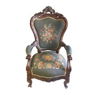 Mid 19th Century Antique Louis XV Style Needlepoint Carved Wood Chair For Sale