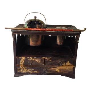 Antique Mejii Period Japanese Lacquer Tabakabon Smoking Set For Sale