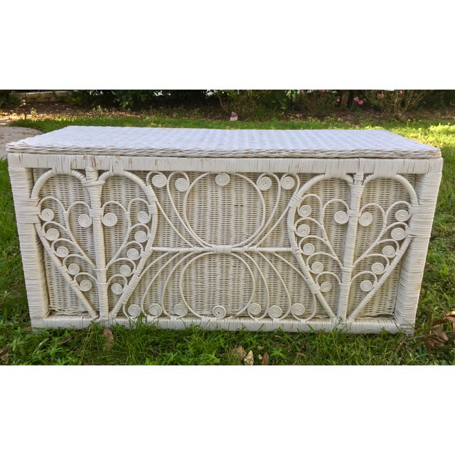 Asian White Heart Peacock Wicker Rattan Trunk For Sale - Image 3 of 7