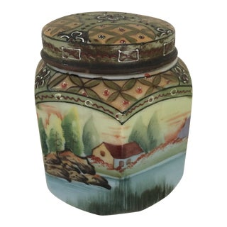 Nippon Hand Painted Jar For Sale