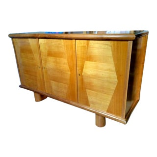 Jean Royère Ashtree, Three-Door Cabinet With Typical Trapeze Patterns Marquetry For Sale