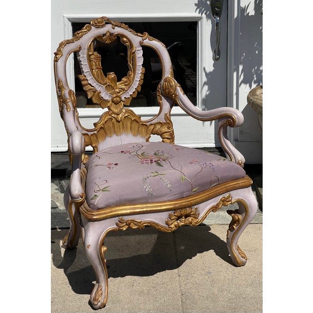 Venetian Purple Palazzo Arm Chair by Charles Pollock for William Switzer