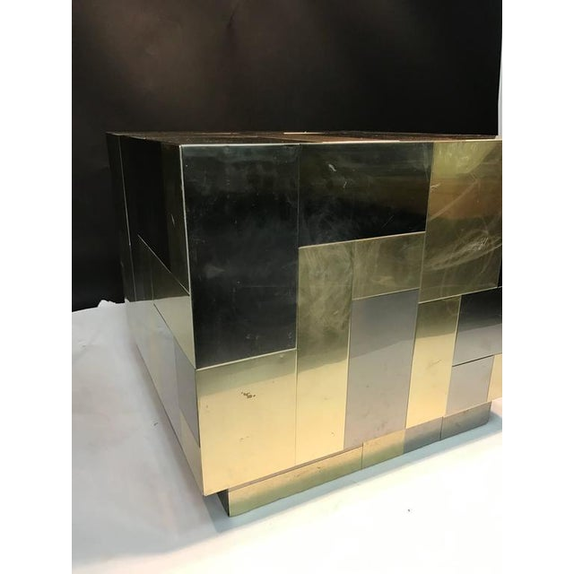 Paul Evans UNUSUAL CUBE-SHAPED BRASS AND CHROME PATCHWORK TABLE BY PAUL EVANS For Sale - Image 4 of 9