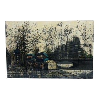 "1950s Vintage Linch ""Street Scene"" Canvas Painting For Sale"
